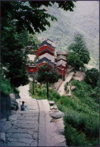 Decending the steps at Wudangshan, Summer 1995
