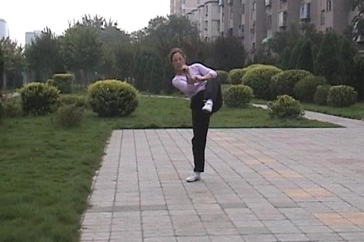 Terri Morgan Practicing Taiji Sword 1998, Zhengzhou