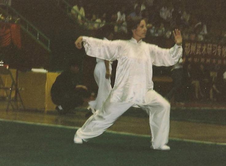 Terri performing Yang Style Taiji won the Taiji division at the Shaolin Festival in Zhengzhou, China 1997.