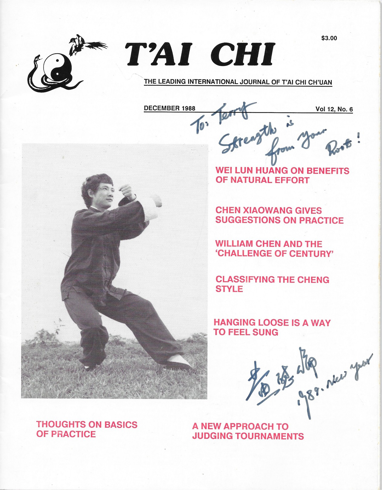 Tai Chi Magazine - Huang WeiLun, Autographed copy